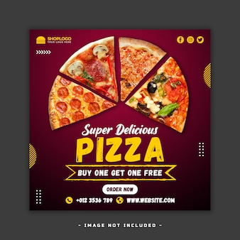 Banner di menu di cibo post sui social media psd premium