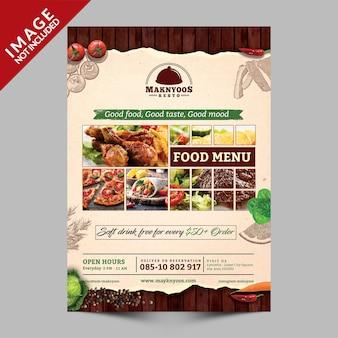 Libro con menu di cibo sul lato anteriore