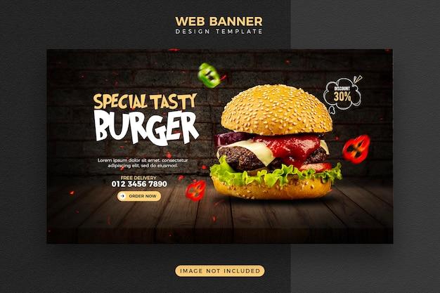 Menu del cibo e modello di banner web delizioso hamburger