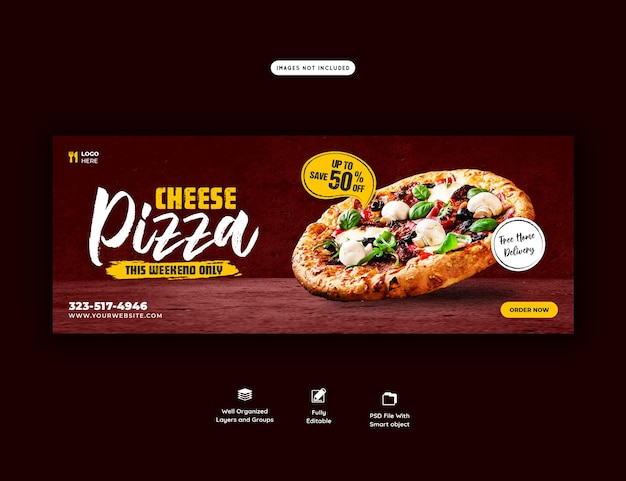 Menu di cibo e modello di banner copertina deliziosa pizza Psd Premium