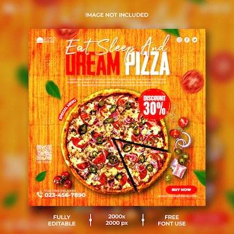 Menu di cibo e deliziosa pizza modello di post instagram