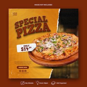 Menu di cibo e modello di banner per social media pizza deliziosa