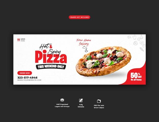 Menu di cibo e deliziosa pizza modello di copertina dei social media