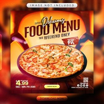 Volantino per menu di cibo o modello di banner per social media del ristorante