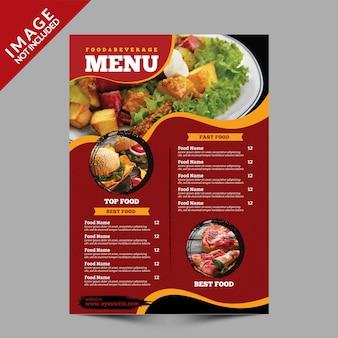 Modello di volantino menu cibo