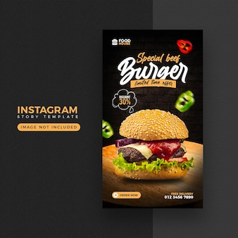 Menu di cibo instagram e modello di storia di facebook