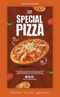 Modello di progettazione di banner di storie di instagram di menu di cibo