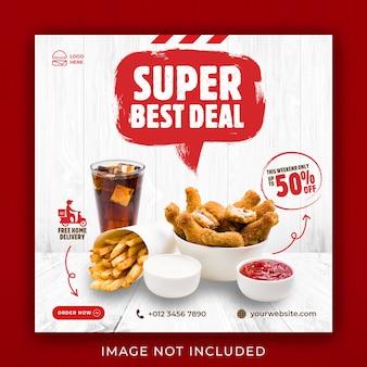 Modello di banner post instagram di social media per la promozione del menu di cibo