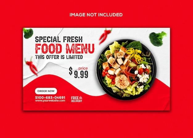 Promozione menu cibo post sui social media e modello di progettazione banner web instagram
