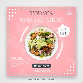 Modello di post di social media promozione menu cibo