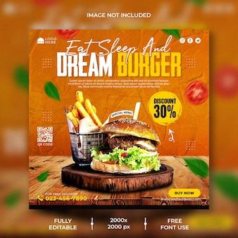 Menu di cibo e modello di banner per social media hamburger ristorante
