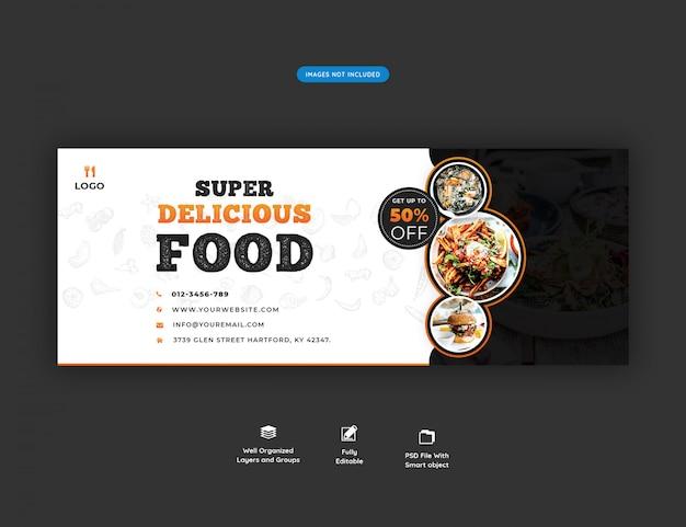 Menu di cibo e modello di copertina facebook ristorante