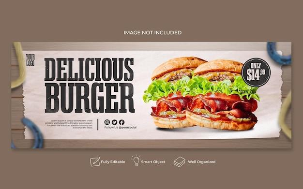 Menu di cibo e modello di copertina di facebook del ristorante
