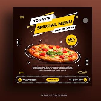 Modello di banner social media menu ristorante e pizza ristorante