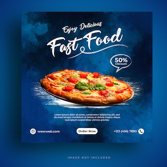 Modello di banner di social media per menu e ristorante pizza