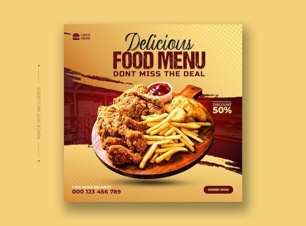 Menu di cibo e modello di post sui social media del ristorante Psd Premium