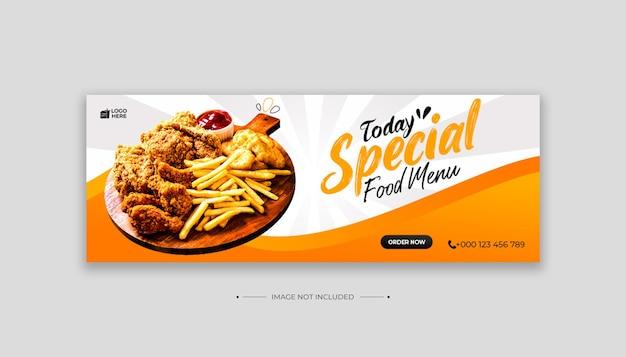 Menu di cibo social media e modello di copertina di facebook