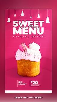 Menu di cibo post di storia dei social media e modello di post di torta