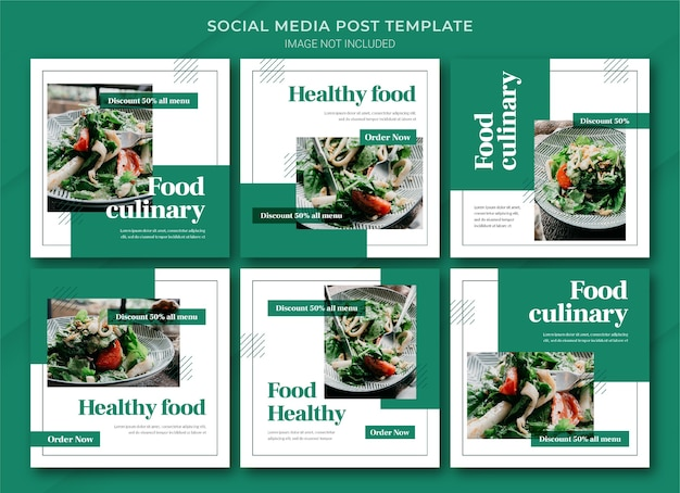Modello di pacchetto di post di instagram per lo shopping online alimentare