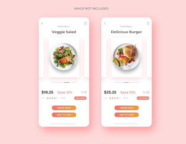 Modello di concetto di app di design dell'interfaccia utente della pagina di cibo