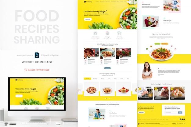 Ricette alimentari condividendo il modello di home page del sito web