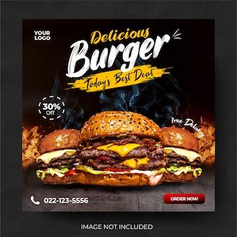 Post di social media banner di promozione del menu del ristorante di cibo