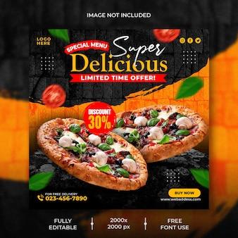 Ristorante di cibo per modello di promozione del menu della pizza sui social media