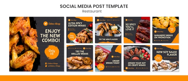 Post sui social media del ristorante di cibo