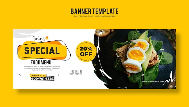 Modello di banner web ristorante di cibo con un design moderno ed elegante
