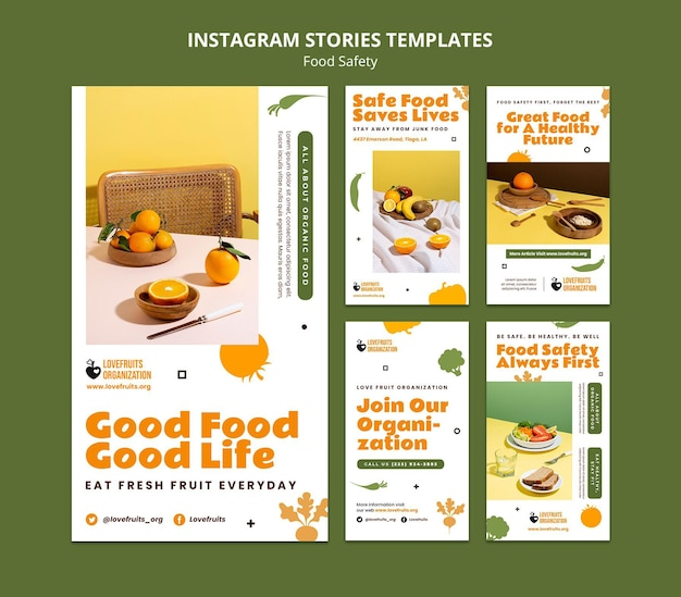 Raccolta di storie sui social media sulla sicurezza alimentare