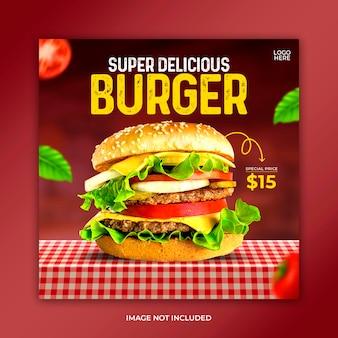 Modello di post banner per social media alimentari food