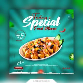 Post sui social media alimentari e modello di banner promozionale