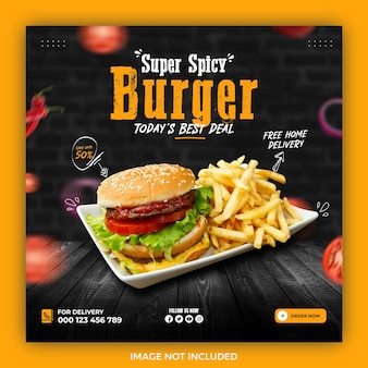 Promozione dei social media alimentari e modello di progettazione di banner post su instagram