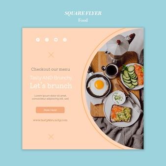 Disegno del modello di volantino quadrato di cibo Psd Premium