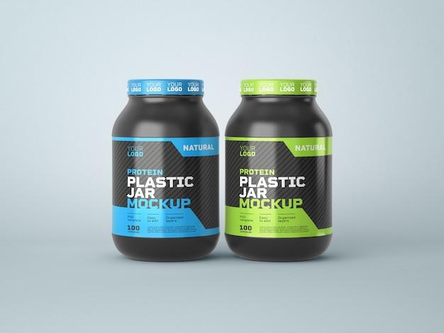 Mockup del barattolo di plastica dell'integratore alimentare