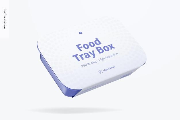 Scatola per vassoio per alimenti con mockup di etichette, galleggiante