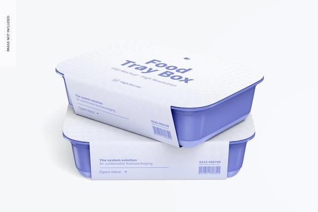 Scatola per vassoio per alimenti con mockup di etichette, impilata