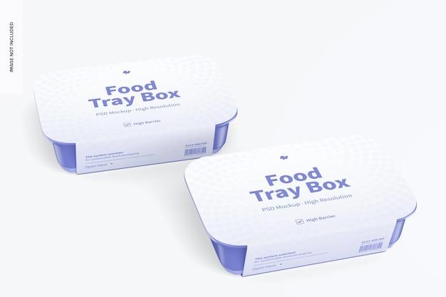 Scatole per vassoio per alimenti con mockup di etichette, prospettiva