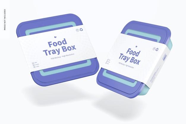Scatole per vassoi per alimenti con coperchio mockup, galleggianti