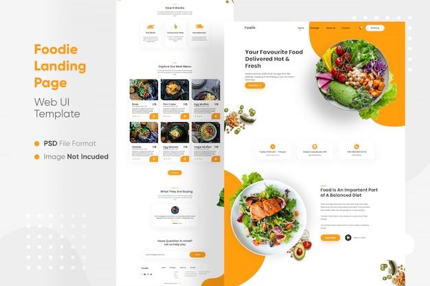 Pagina di destinazione foodie web ui