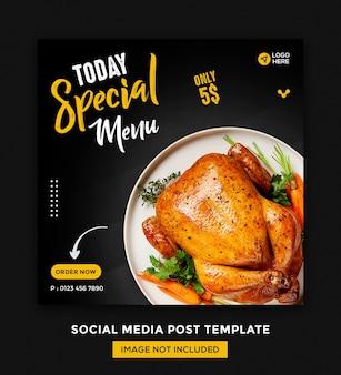 Social media di alimenti e modello di post desgin di instagram