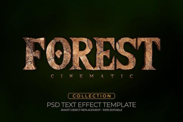 Stile di suddivisione personalizzato con effetto di testo 3d cinematografico della foresta