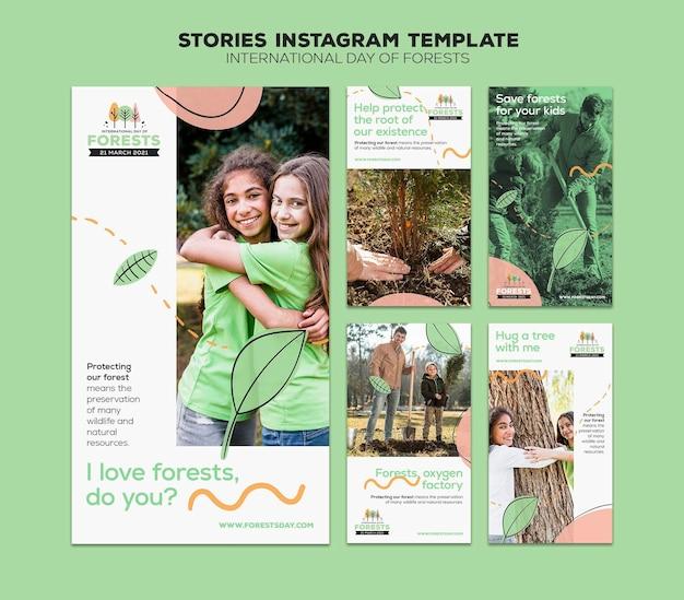 Modello di storie sui social media della giornata della foresta