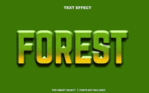 Effetto testo foresta. oggetto intelligente di testo modificabile