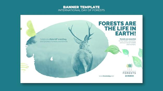 Modello di banner giorno delle foreste con foto
