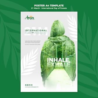 Modello di poster della giornata delle foreste con foto