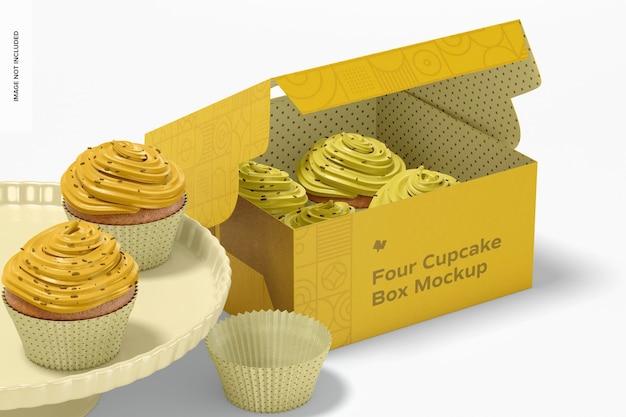 Mockup di scatola di quattro cupcakes