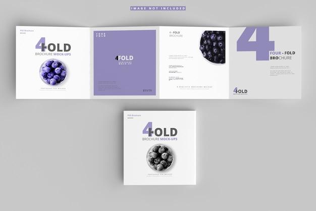 Mockup di brochure quadrate a quattro pieghe