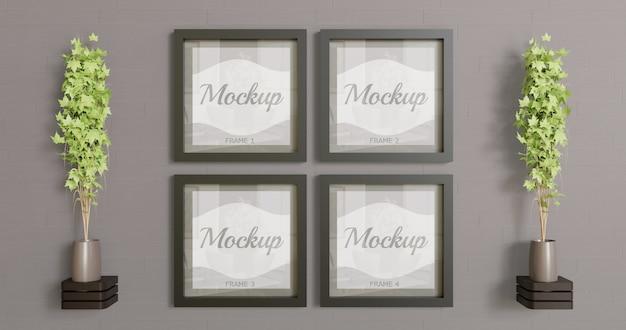 Mockup di quattro quadri quadrati sul muro. mockup multiplo con cornice nera per logo, foto e grafica