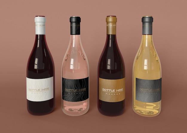 Quattro bottiglie di vino mockup